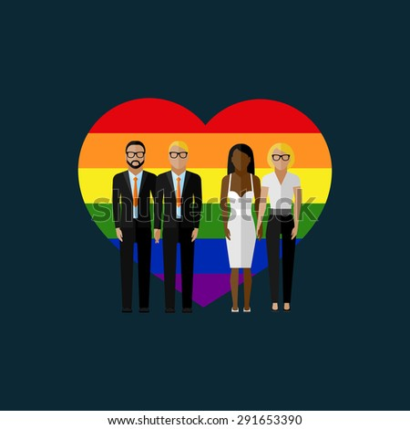 gay marriage vector flat illustration. homosexual couples on the rainbow heart background. love wins - stock vector