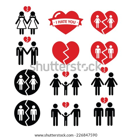 Gay or lesbian Couple breakup, divorce vector icons set  - stock vector