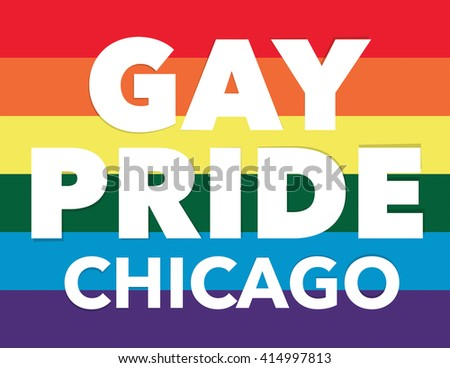 "Gay pride background with ""Gay Pride Chicago"" over flag"