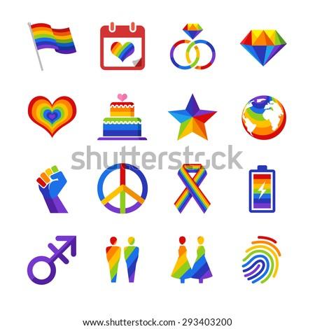 Gay pride icons - stock vector