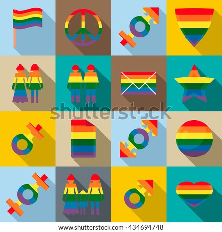 Gay pride icons set, flat style - stock vector