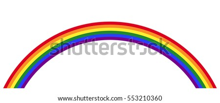 Gay pride rainbow with the LGBT movement flag color in the form of a multicolored arc. Symbol for tolerance and peace. Isolated illustration on white background. Vector.