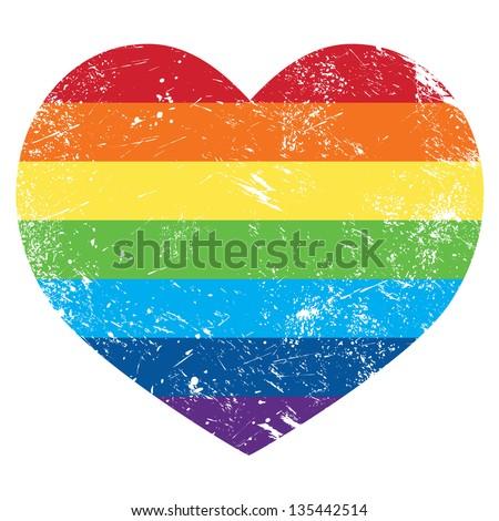 Gay rights rainbow retro heart flag - stock vector