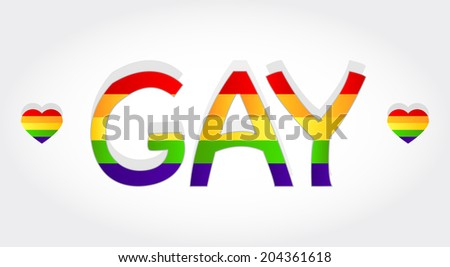 Gay stylized word with rainbow and two heart. Gay word - stock vector