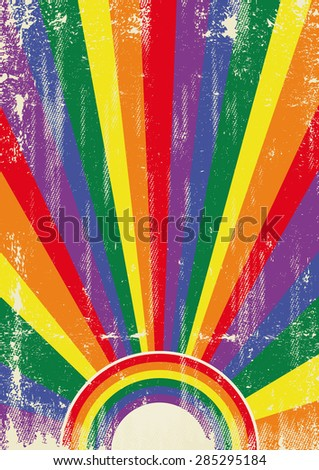 Gay vintage sunbeams. A vintage gay poster with sunbeams and a a texture for your advertising - stock vector
