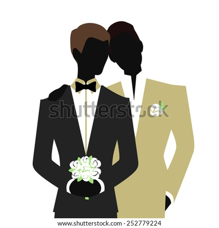 Gay wedding couple. Gay family vector illustration. - stock vector