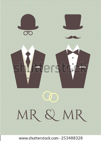 Gay wedding vector graphics. Schematic illustration of same sex male couple. Elegant design elements for same sex wedding ceremonies made in fancy retro style. - stock vector