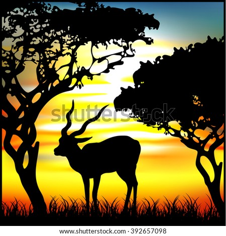 gazelle africa animal - stock vector