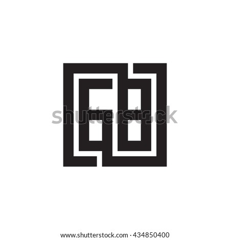 GB initial letters looping linked square monogram logo