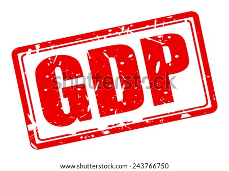 GDP red stamp text on white - stock vector