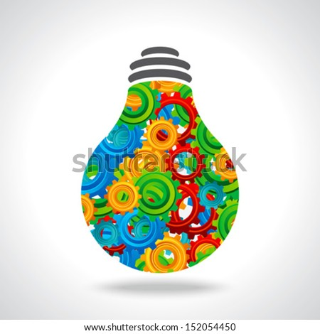 gear and bulb with colorful background - stock vector