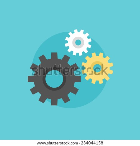 Gear and cogwheel mechanism, business cooperation metaphor, engineering industry abstract logo. Flat icon modern design style vector illustration concept. - stock vector