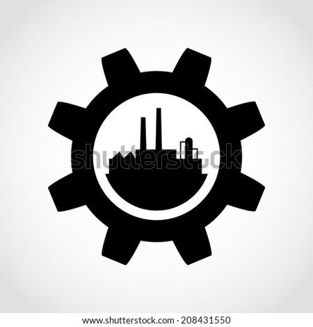 Gear and Factory Icon Isolated on White Background - stock vector