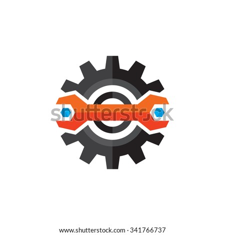 Gear and wrench vector logo template concept illustration in flat style. Support icon. Setting flat icon. Cog sign. SEO insignia. Design element.