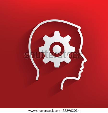 Gear brain symbol on red background,clean vector - stock vector