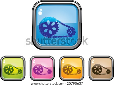 Gear Chain Glossy Button - stock vector