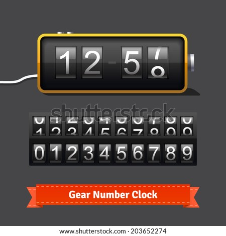 Gear clock and number counter template with all digits. Highly editable EPS10 vector interface elements. - stock vector