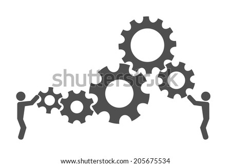 gear cog person design background - stock vector