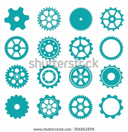 gear collection machine gear (wheel cogwheel vector, set of gear wheels, collection of vector gear). Can be the app button for web.