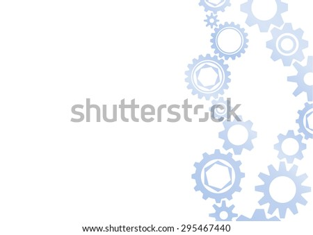 Gear collection. Set of vector gear wheels. Blue blur cogs on white background. Vector illustration - stock vector