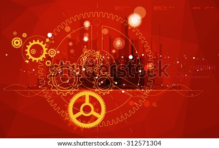 Gear Composition Abstract Background - Illustration