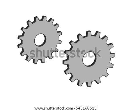 Gear design 3d vector on white isolated background.