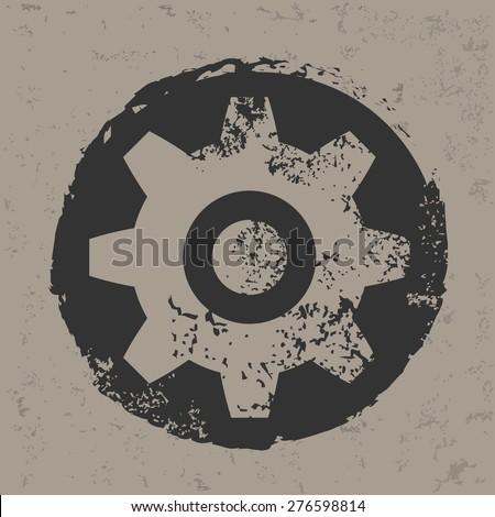 Gear design on grunge background, grunge vector - stock vector