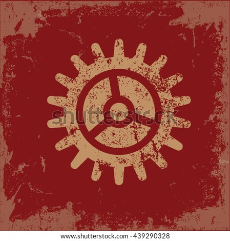 Gear design on red background,vector