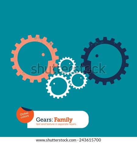 Gear head family. Vector illustration Eps10 file. Global colors. Text and Texture in separate layers. - stock vector