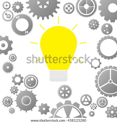 Gear Icon Background with Brink Light Bulb - vector illustration eps10