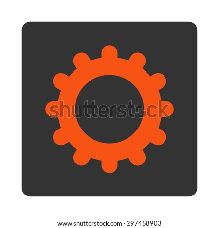 Gear icon from Primitive Buttons OverColor Set. This rounded square flat button is drawn with orange and gray colors on a white background.