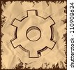 Gear icon isolated on vintage background. Hand drawing sketch vector illustration - stock photo