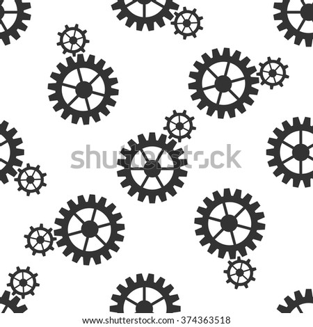 Gear icon seamless pattern on white background. Vector Illustration