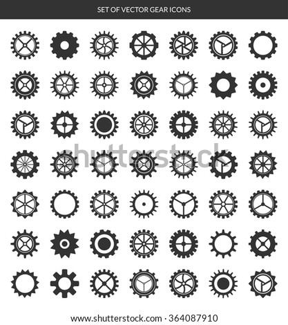 Gear icons set. Vector cogwheels, pinions, gear wheels isolated on white background. 49 pieces - stock vector
