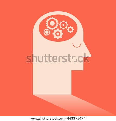 Gear in brain like Ideas and Imagination. Flat design for business financial marketing banking advertising commercial background minimal vector concept cartoon illustration. - stock vector