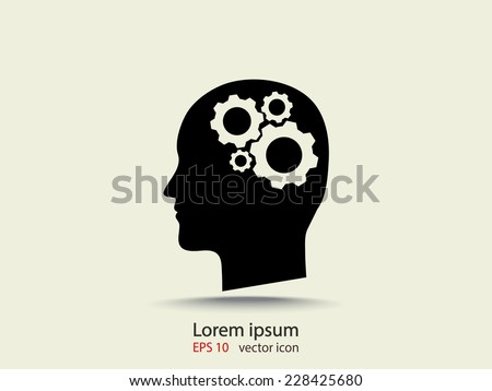 gear in head icon - stock vector