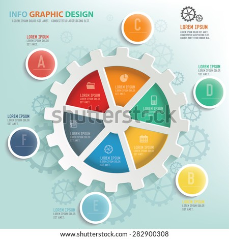 Gear info graphic design, Business concept design. Clean vector. - stock vector