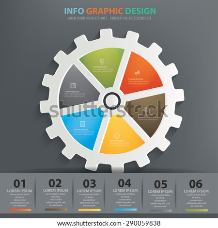 Gear info graphic design, Data concept design. Clean vector. - stock vector