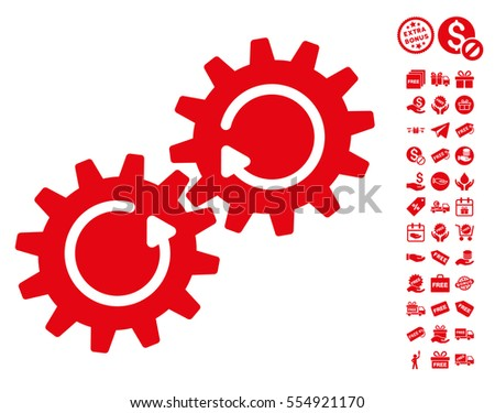 Gear Mechanism Rotation icon with free bonus design elements. Vector illustration style is flat iconic symbols, red color, white background.