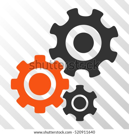 Gear Mechanism vector icon. Illustration style is flat iconic bicolor orange and gray symbol on a hatched transparent background.