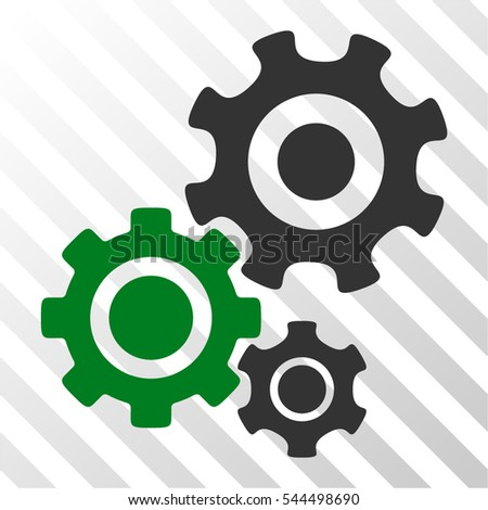 Gear Mechanism vector pictograph. Illustration style is flat iconic bicolor green and gray symbol on a hatched transparent background.