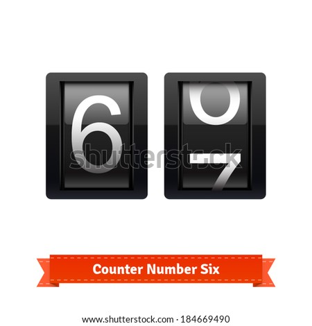 Gear number counter template for number six. Highly editable EPS10 interface elements. - stock vector