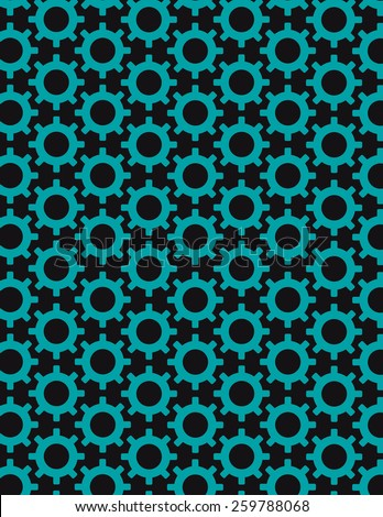 Gear pattern arranged over solid color background - stock vector