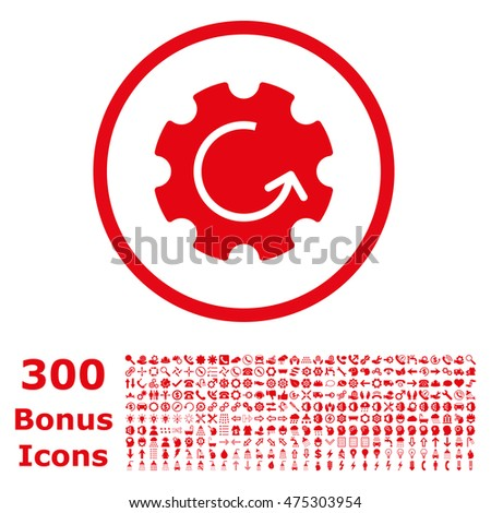 Gear Rotation rounded icon with 300 bonus icons. Vector illustration style is flat iconic symbols, red color, white background.