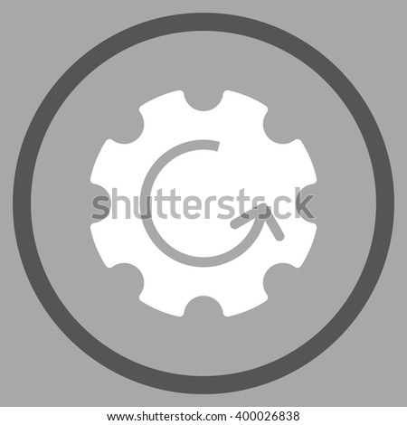 Gear Rotation vector bicolor icon. Picture style is flat gear rotation rounded icon drawn with dark gray and white colors on a silver background. - stock vector