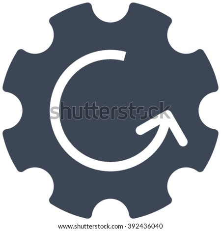 Gear Rotation vector icon. Image style is flat gear rotation pictogram drawn with smooth blue color on a white background. - stock vector