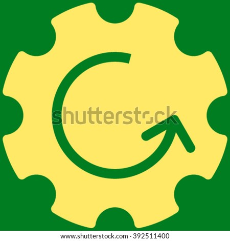 Gear Rotation vector icon. Image style is flat gear rotation pictogram symbol drawn with yellow color on a green background. - stock vector
