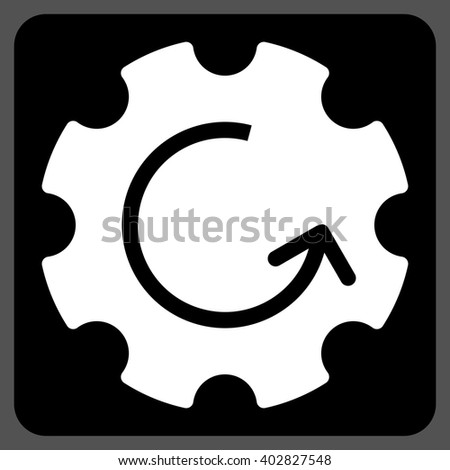 Gear Rotation vector icon symbol. Image style is bicolor flat gear rotation icon symbol drawn on a rounded square with black and white colors. - stock vector