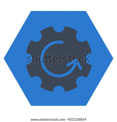 Gear Rotation vector symbol. Image style is bicolor flat gear rotation icon symbol drawn on a hexagon with smooth blue colors. - stock vector