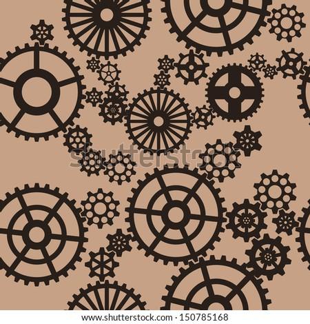 Gear seamless pattern - stock vector